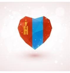 Flag of Mongolia in shape diamond glass heart vector