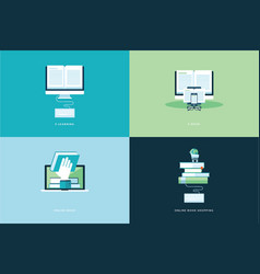 flat design concept icons for online book vector image