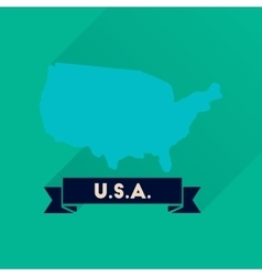Flat icon with long shadow united states map vector