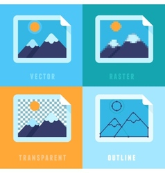 Flat icons - different image formats vector