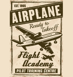 Flight academy vintage advertising poster vector
