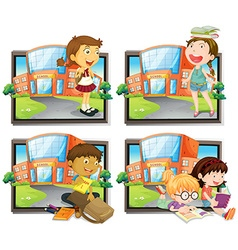 Four scenes of student at school vector image