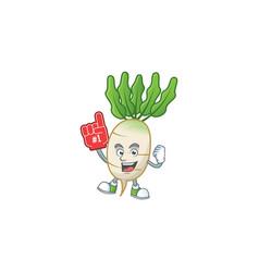Funny daikon mascot cartoon style with foam finger vector