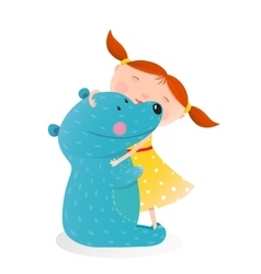 Girl hugging toy cute bear vector