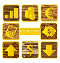 gold finance symbols set isolated vector image