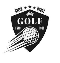 golf shield emblem badge label or logo vector image