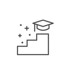 Graduation way line outline icon vector