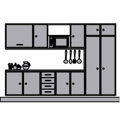 grayscale silhouette with modern kitchen cabinets vector image