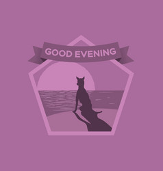 greeting card good evening in vector image