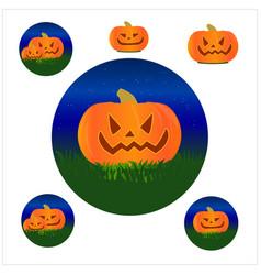 halloween autumn pumpkin face set white vector image