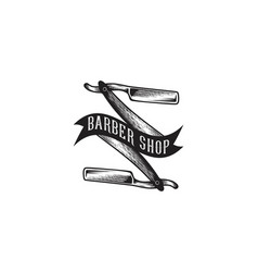 hand drawn razor blade barber shop logo designs vector image