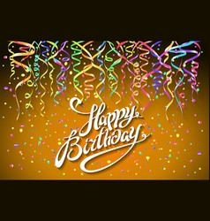 happy birthday greeting card with confetti on vector image