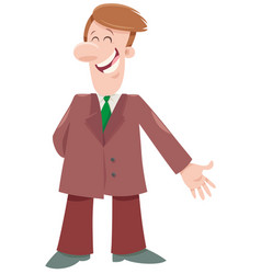 happy businessman cartoon character vector image
