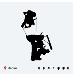 High detailed map of Macau with navigation pins vector image