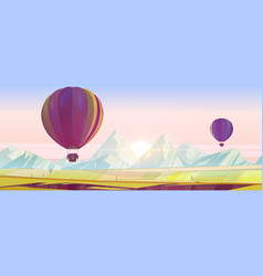 Hot air balloons flying above fields and rocks vector