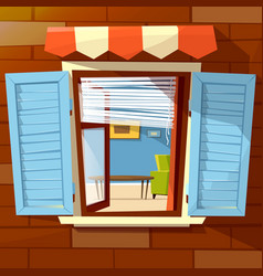 House window facade cartoon of vector