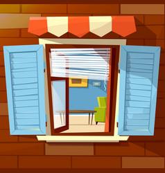 House window facade cartoon vector