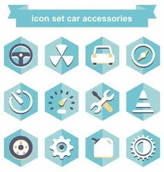 Icon set car accessories vector