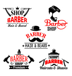 Icons set for barber shop premium salon vector