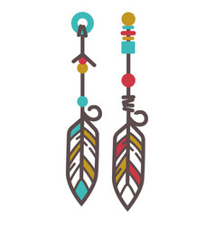 indian earrings with feathers vector image