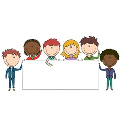 kids holding banner vector image vector image
