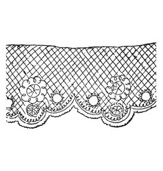 Lace is a fabric of fine threads vintage engraving vector