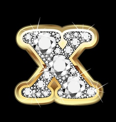 letter x gold and diamond bling bling vector image