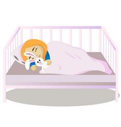 Little girl sleeps in her bed vector