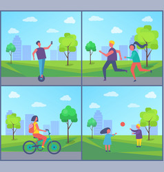 Man riding on segway couple running girl bike vector