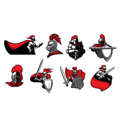 Medieval knights with swords icons vector
