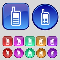 Mobile phone icon sign A set of twelve vintage vector