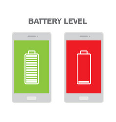 Mobile phone with low and full battery vector
