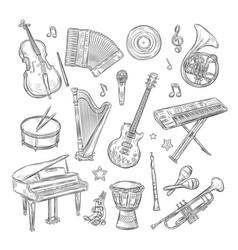musical instruments doodles drum flute vector image