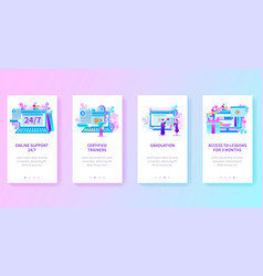 Online education site vertical web page templates vector