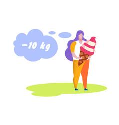 Overweight woman holding huge ice cream diet vector
