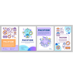 Pacifism brochure template layout anti war flyer vector