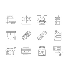 Pharmacy flat line icons set vector image