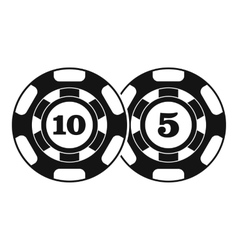 Poker chips nominal five and ten icon simple style vector
