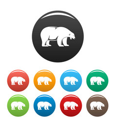 Polar bear howl icons set color vector