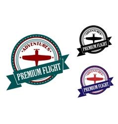 Premium flight adventures symbol vector image
