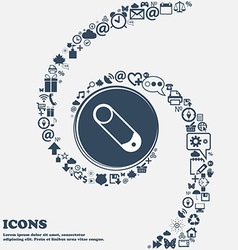 Pushpin icon in center around many vector