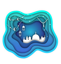 Ramadan kareem background mosque lamps moon vector