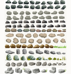 rock stone set with grass cartoon in flat style vector image