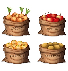 Sacks of fruits and crops vector image