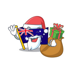 Santa with gift flag australia isolated in the vector