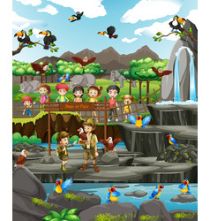Scene with animals and many kids at zoo vector