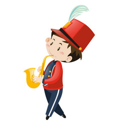 school band member playing saxophone vector image