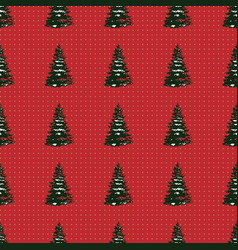seamless merry christmas festive pattern with tree vector image