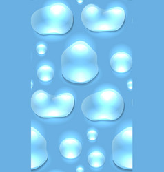 Seamless texture of water droplets on a blue vector