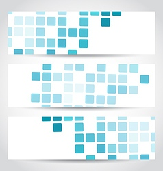 Set blue mosaic tile cards vector image